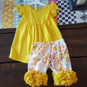 Other - Yellow ruffle blouse and shorts,  2t